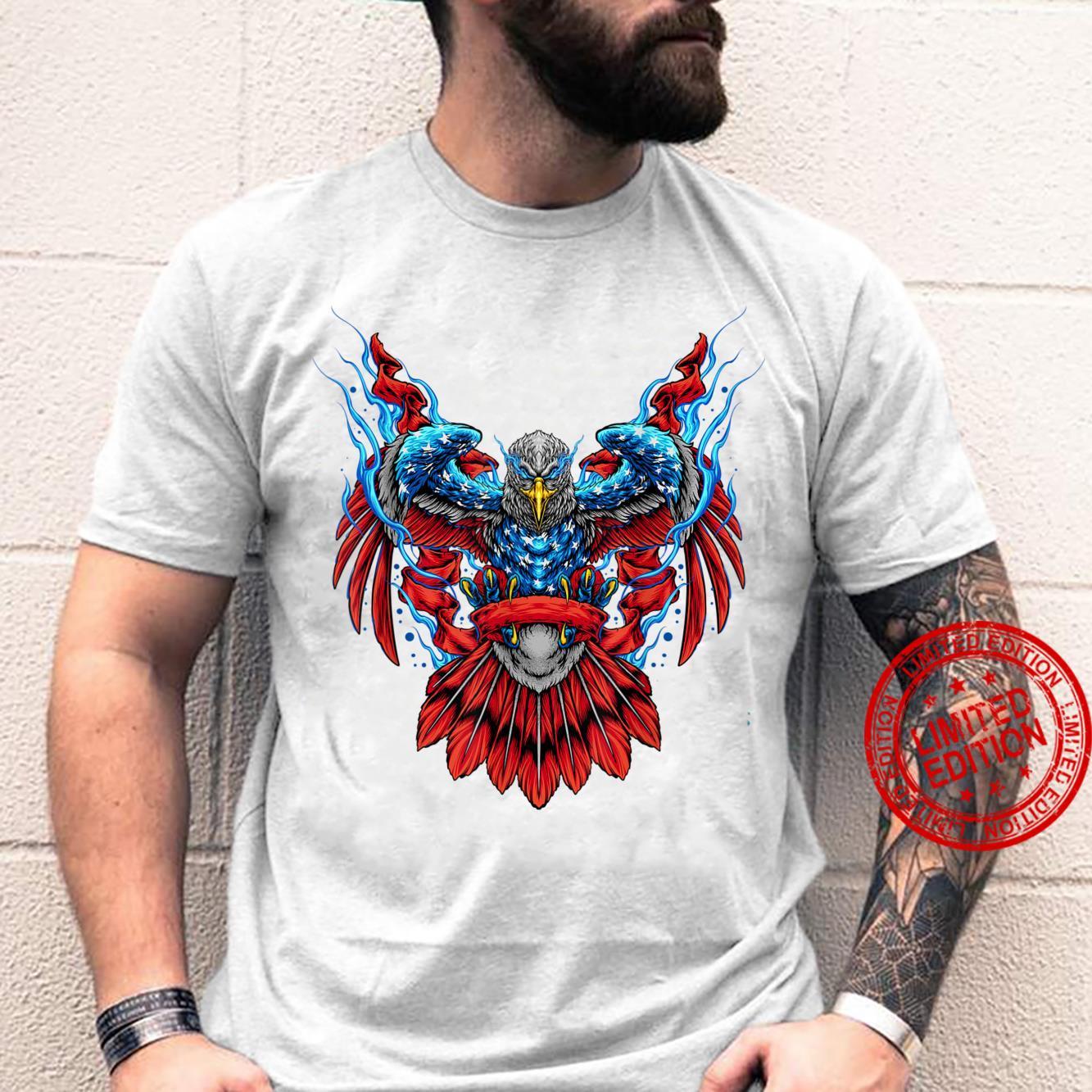 American Flag Eagle Superhero Fourth Of July 4th Patriotic Shirt