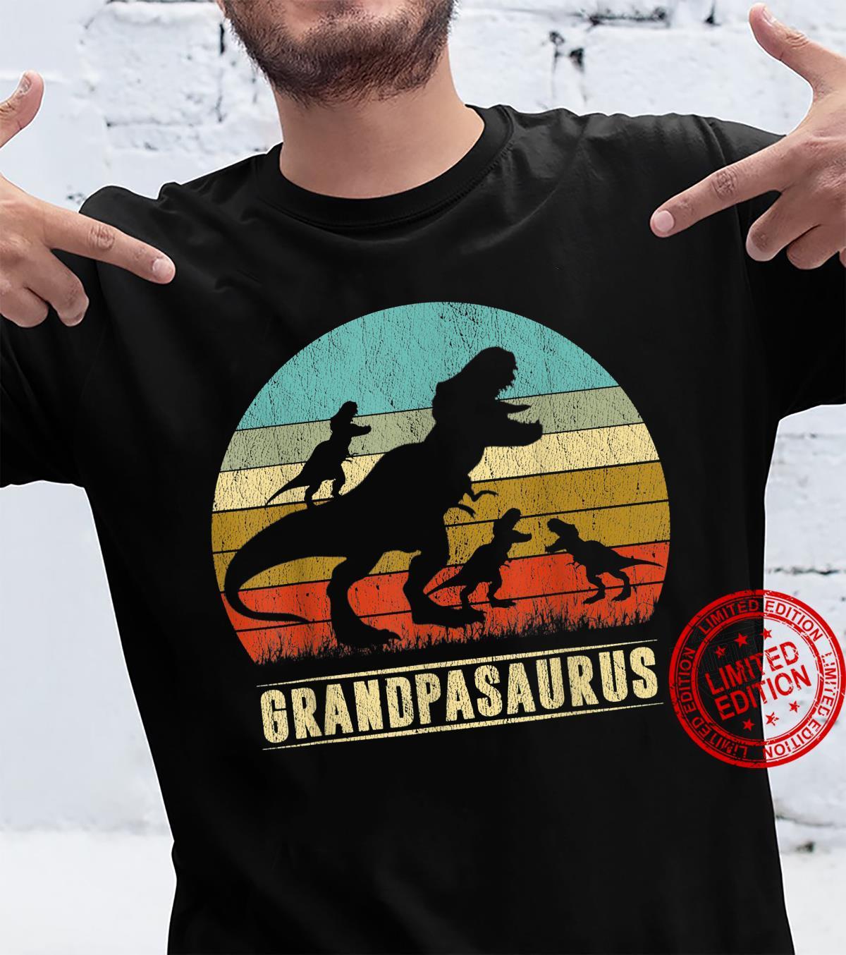 Grandpasaurus Rex Grandpa Dinosaur 3 three Father's Day Shirt