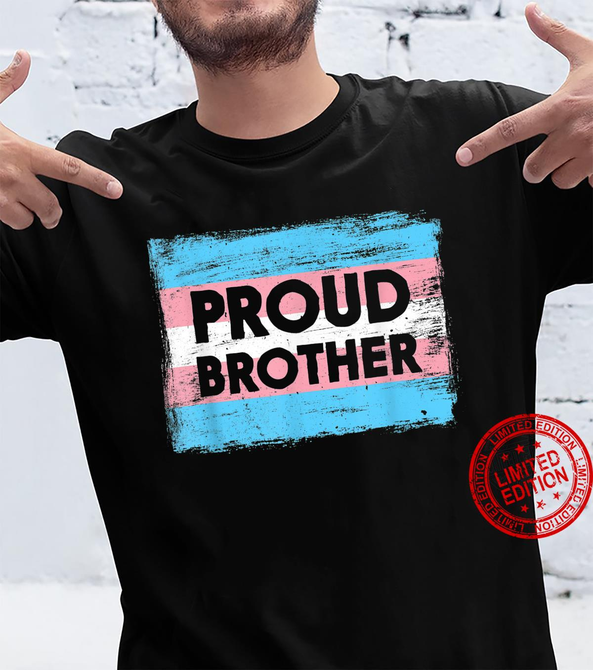 PROUD BROTHER Transgender Pride Flag Painted Shirt