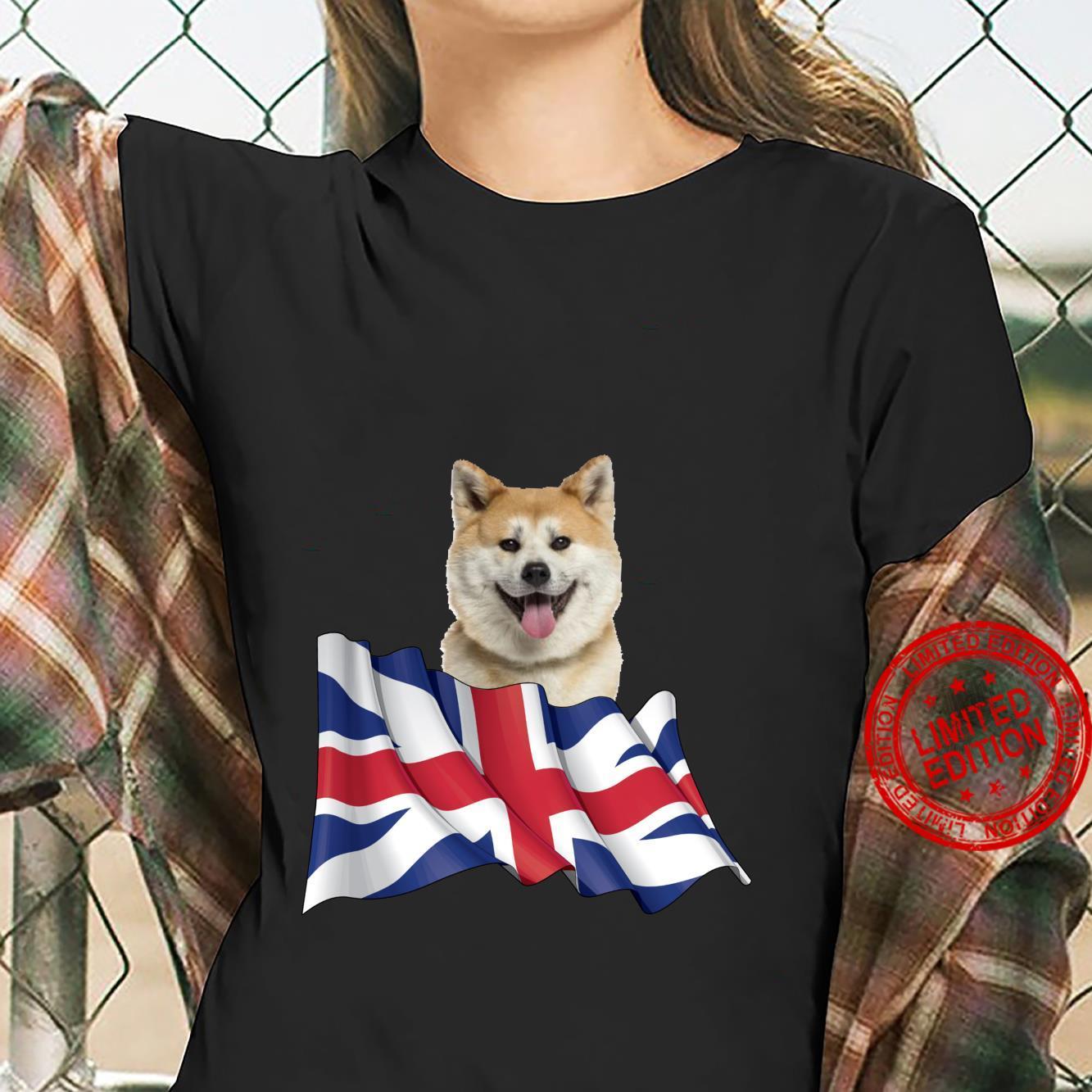 Union Jack Flag Dog Akita Shirt ladies tee
