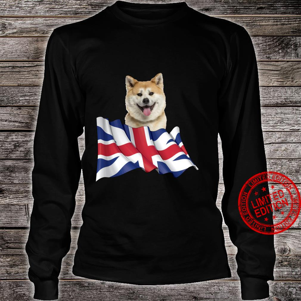 Union Jack Flag Dog Akita Shirt long sleeved