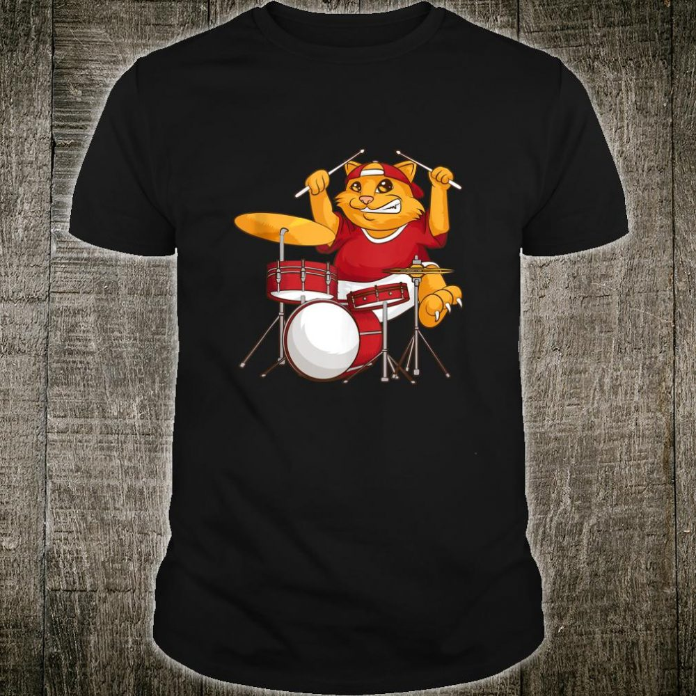 Cool Cat Playing Drums Kitten Instrument Player Shirt