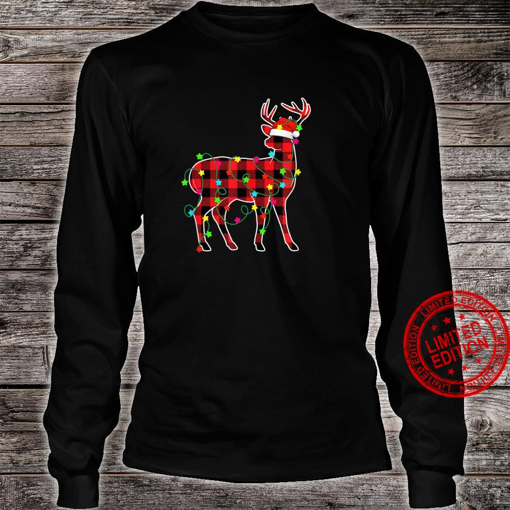 Funny Deer Christmas Tree Red Plaid Animals Shirt long sleeved