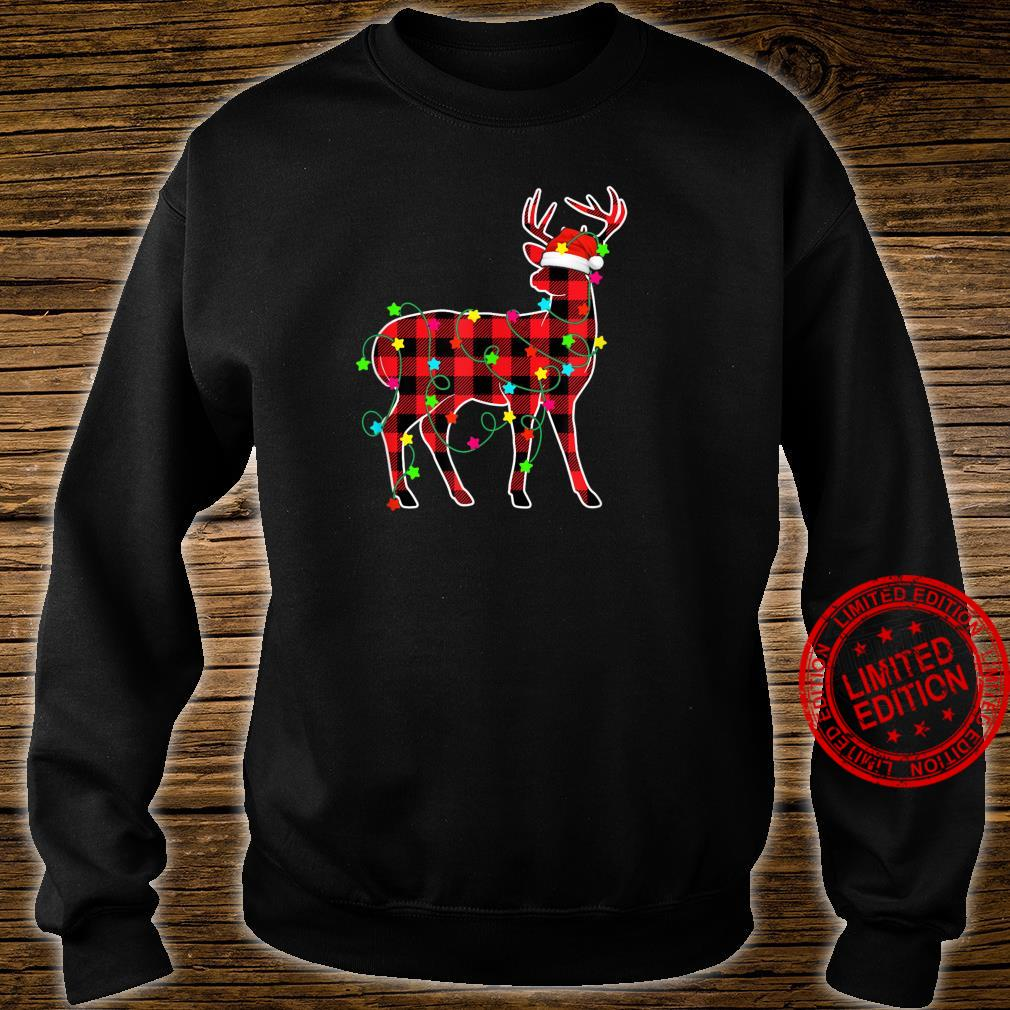 Funny Deer Christmas Tree Red Plaid Animals Shirt sweater