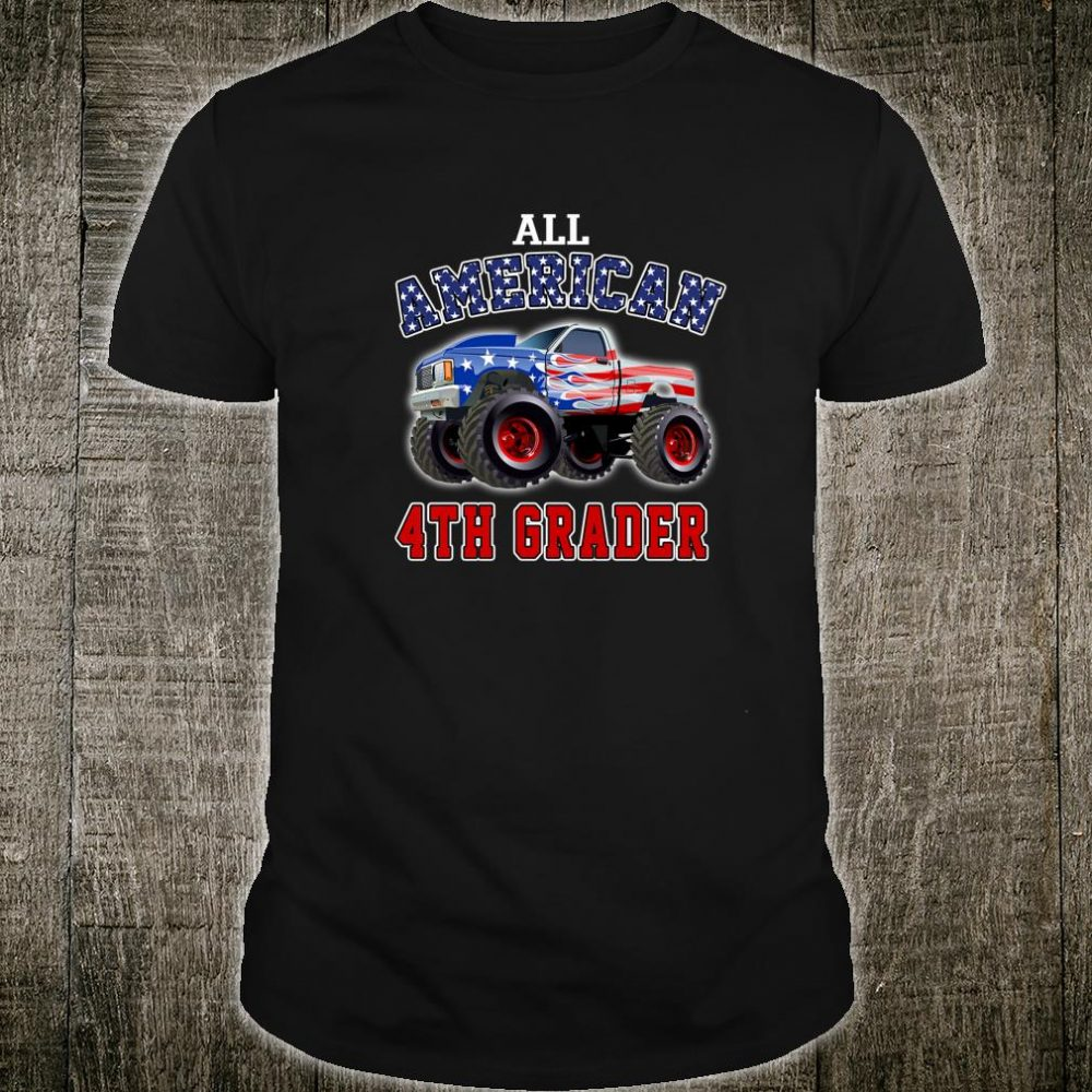 Kids Back To School 4th Grade Boys Monster Truck American Flag Shirt