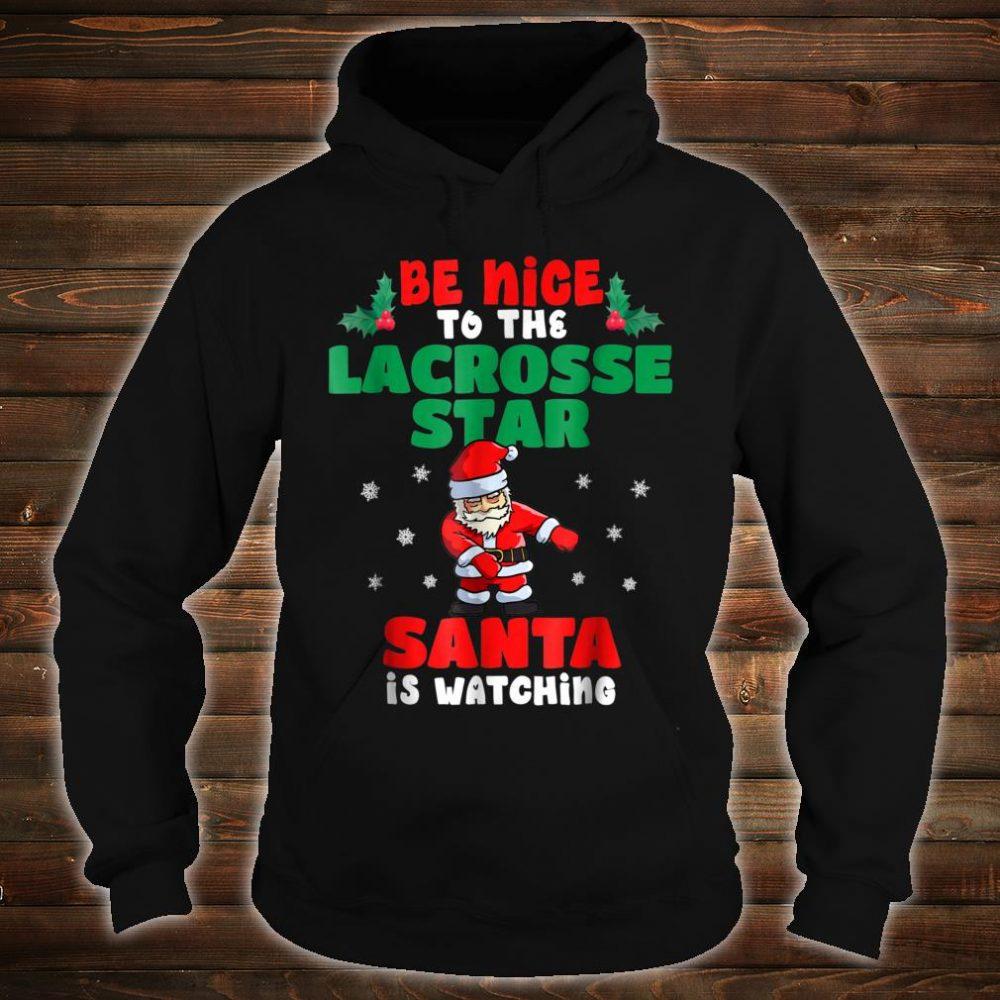 Lacrosse Player Christmas Pajama Shirt Santa Is Watching Shirt hoodie