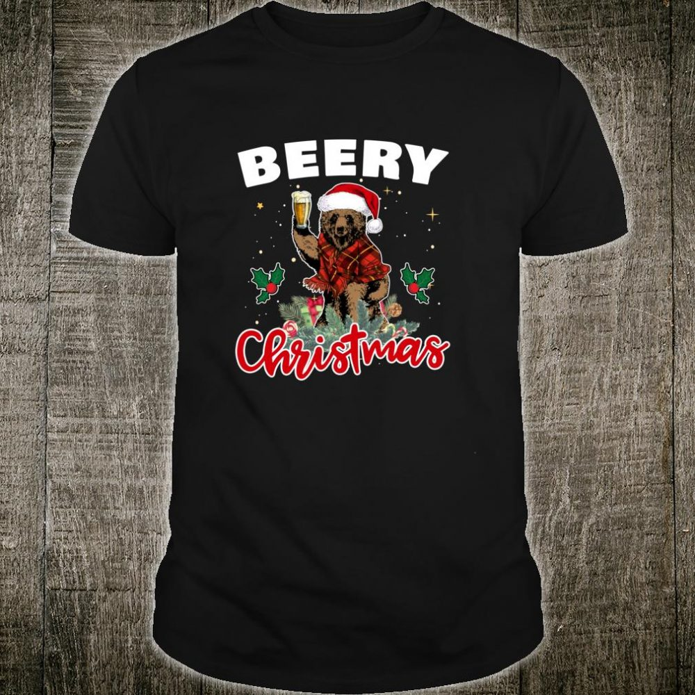 Merry Beery Christmas For Beers Xmas Bear Shirt