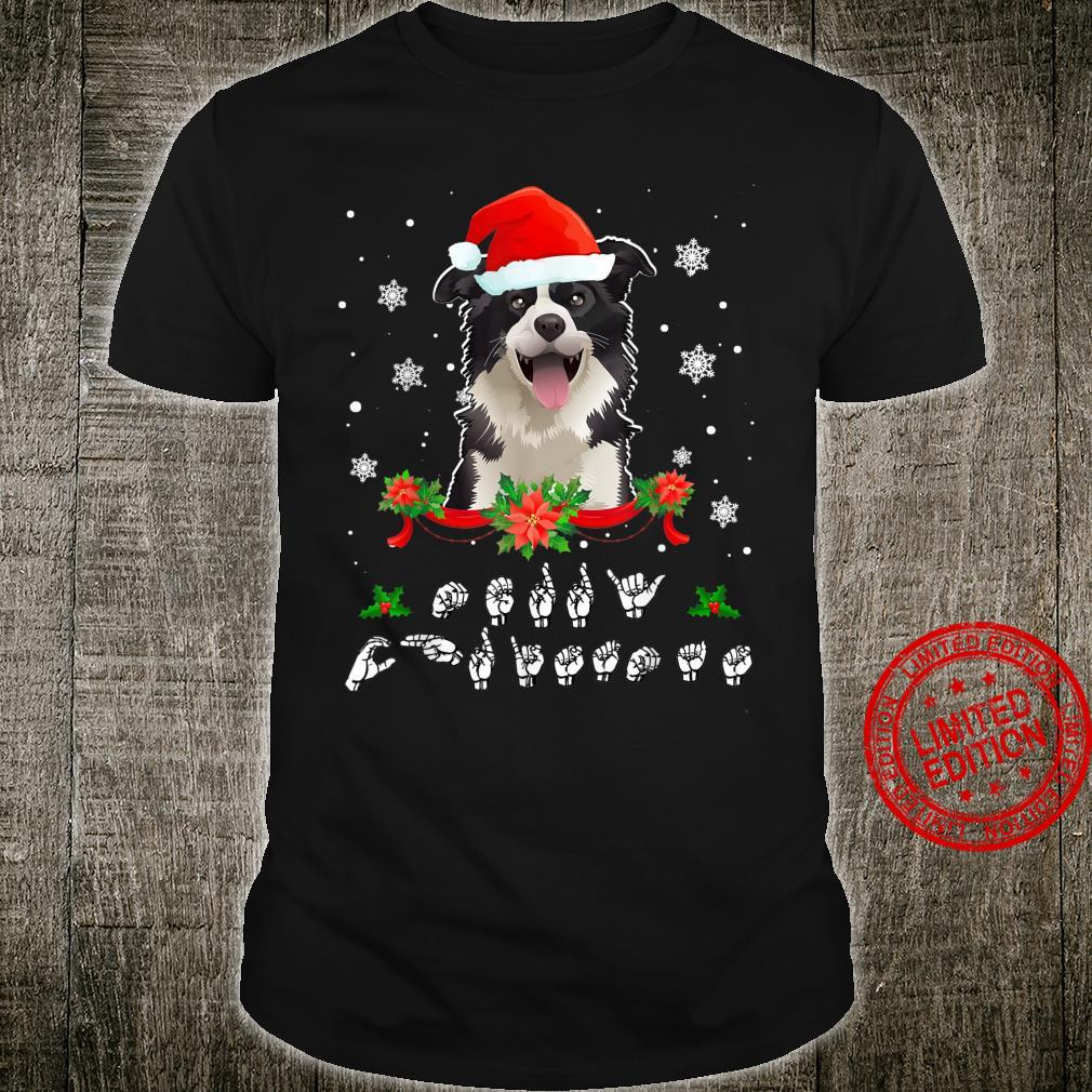 Merry Christmas American Sign Language Santa Border Collie Shirt