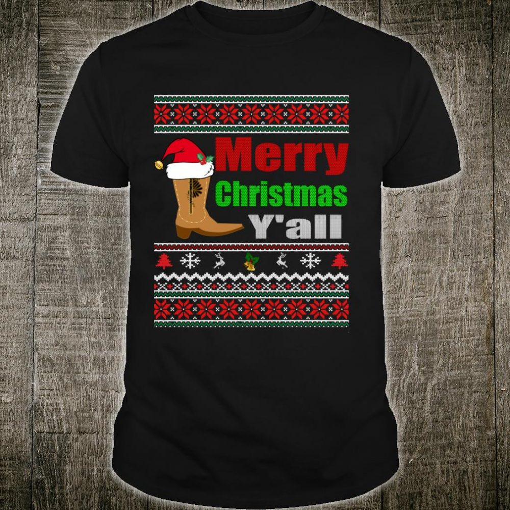 Merry Christmas Y'all Texas Cowboy Holiday Shirt