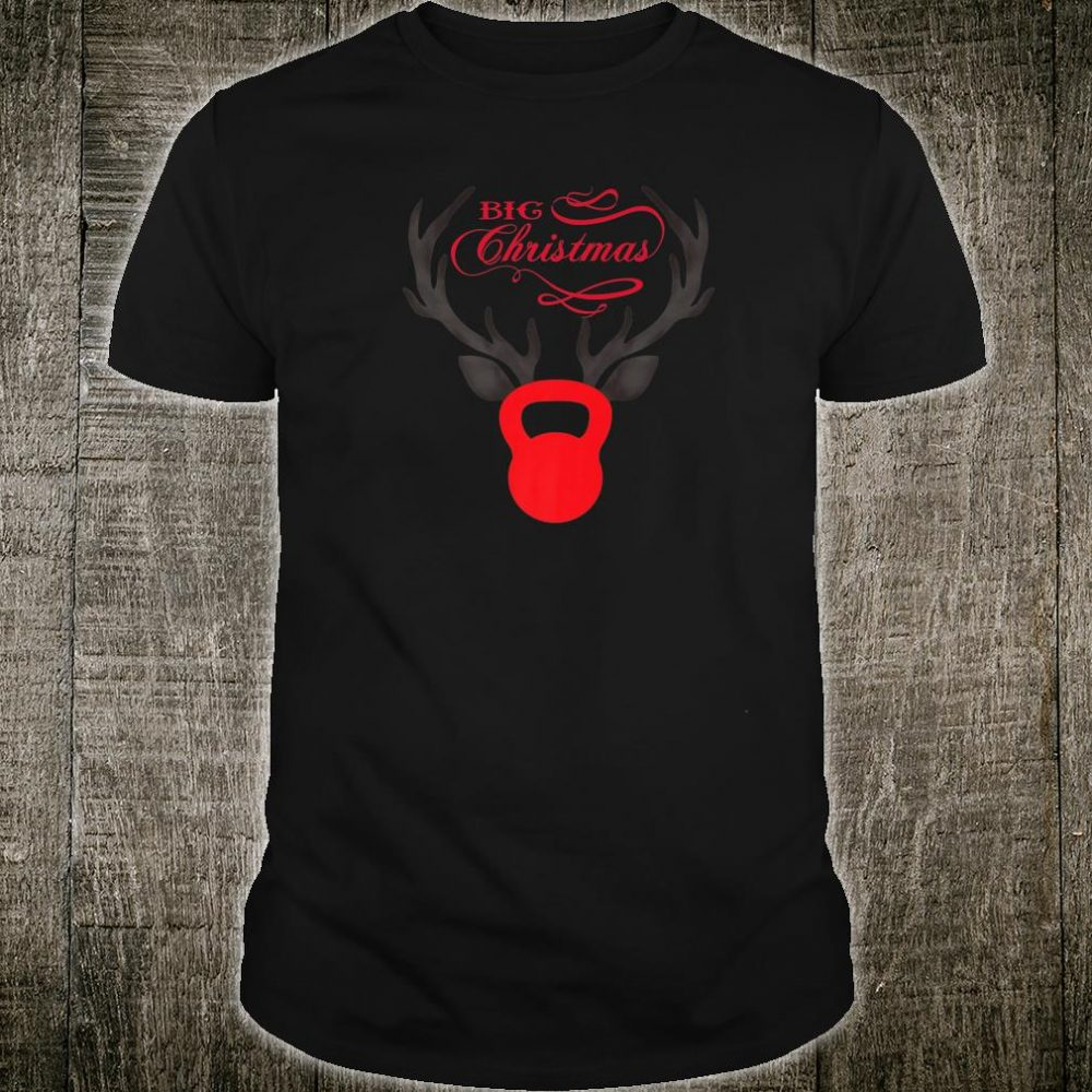 Merry Xmas Antlers Kettlebell Weightlifting Fitness Workout Shirt