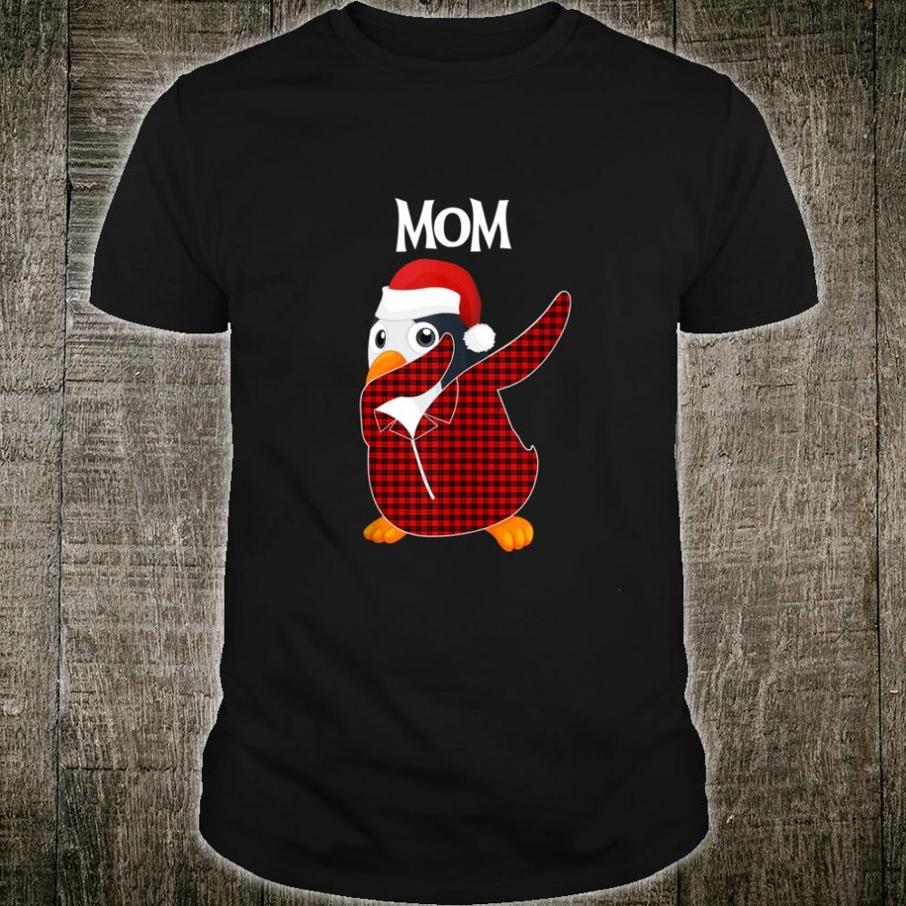 Mom Penguin Dabbing Buffalo Tartan Plaid Christmas Shirt