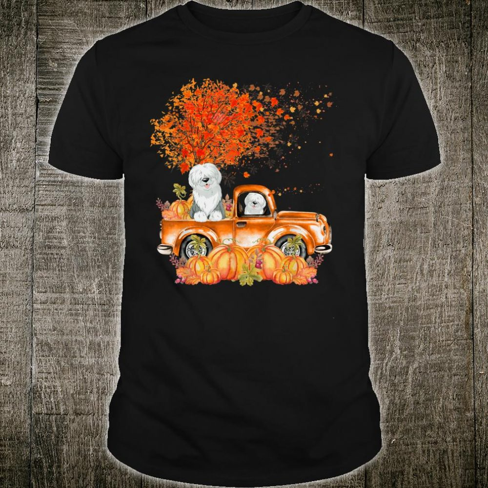 Old English Sheepdog Dog On Pumpkins Truck Autumn Leaf Fall Shirt