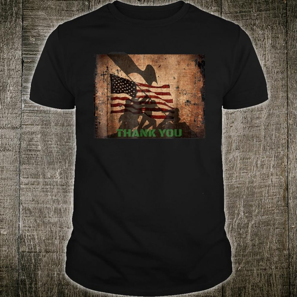 Patriotic USA Flag Veterans Day Thank You Shirt