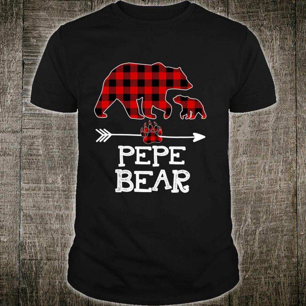 Pepe Bear Christmas Pajama Red Plaid Buffalo Family Shirt