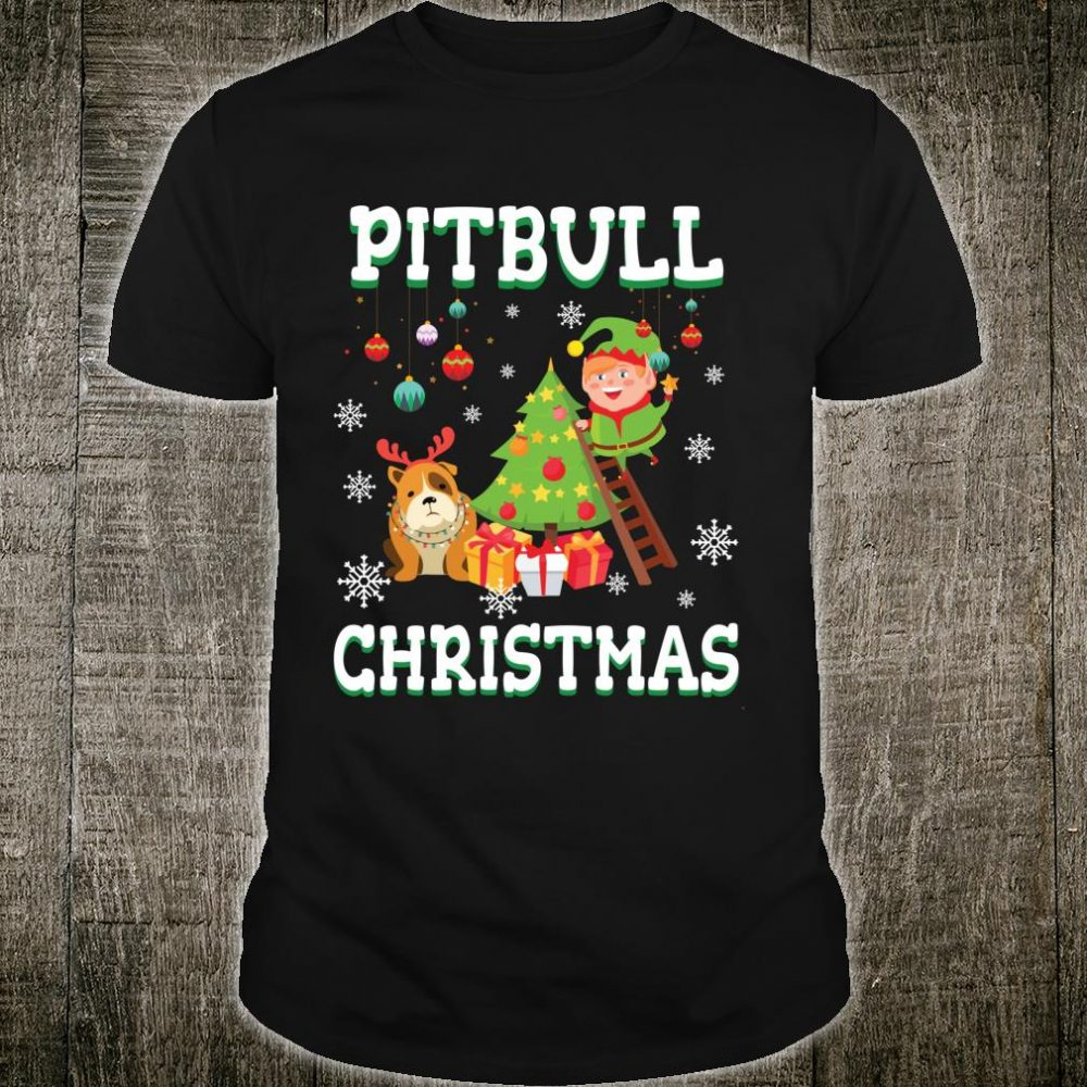 Pitbull With Noel Costume Snow Xmas Merry Christmas Shirt