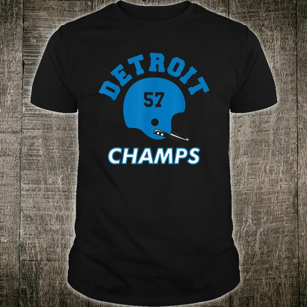 Retro Detroit Football Helmet Vintage DET 57 Champs Shirt