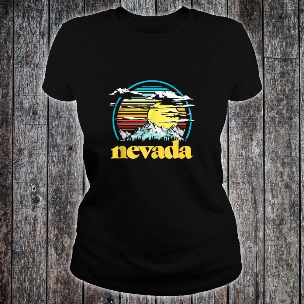 Retro Nevada Vintage 80s Style Mountains & Sun Shirt ladies tee
