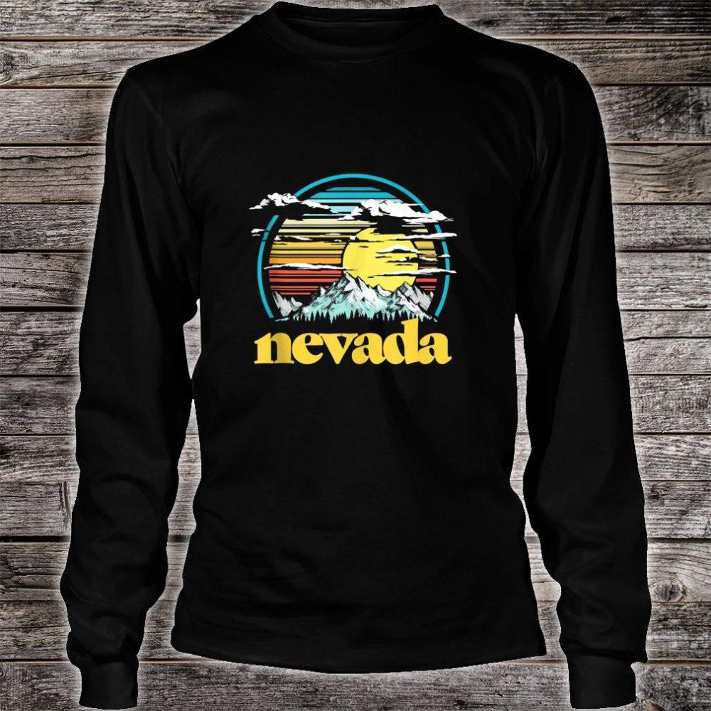 Retro Nevada Vintage 80s Style Mountains & Sun Shirt long sleeved