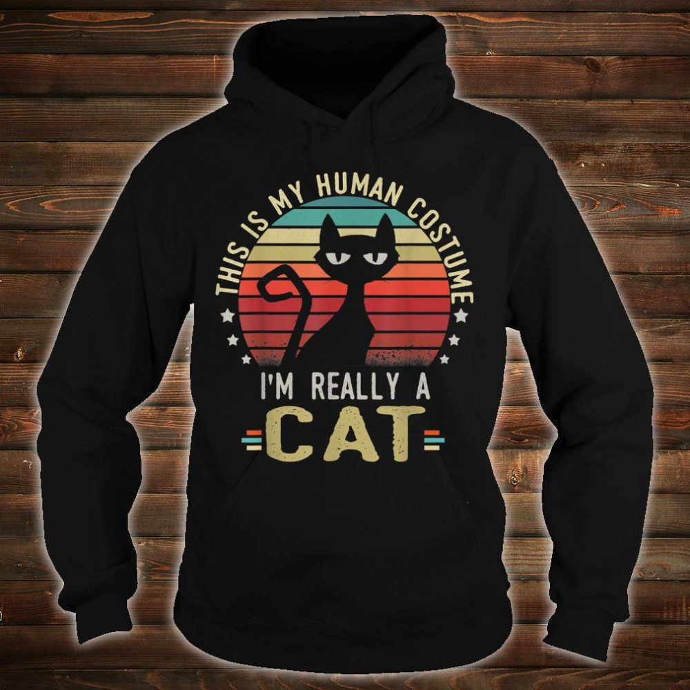 Retro Vintage This Is My Human Costume I'm Really A Cat Shirt hoodie