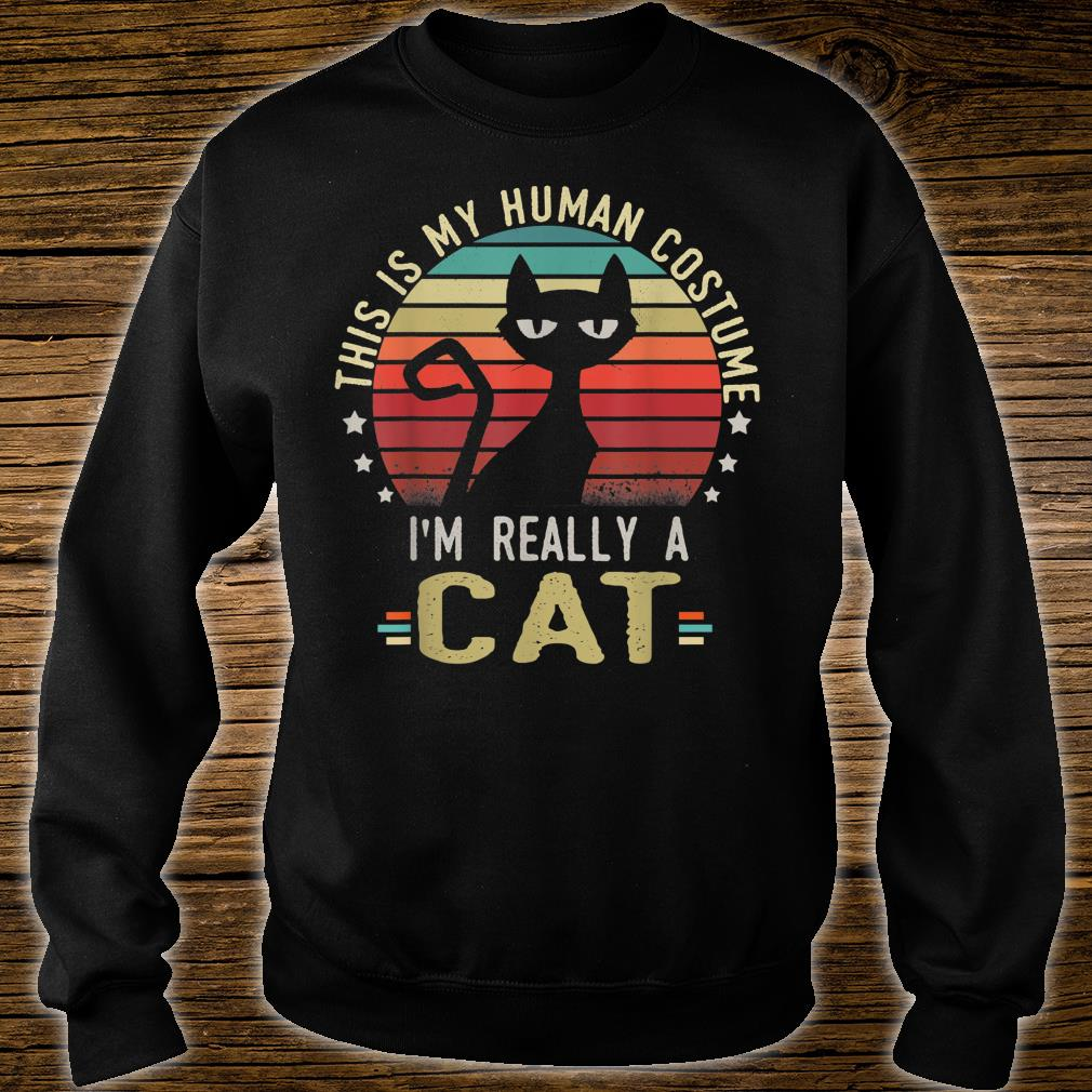 Retro Vintage This Is My Human Costume I'm Really A Cat Shirt sweater
