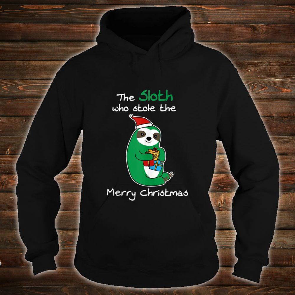 Santa Sloth Who Stole Merry XMas Boxes Christmas Shirt hoodie