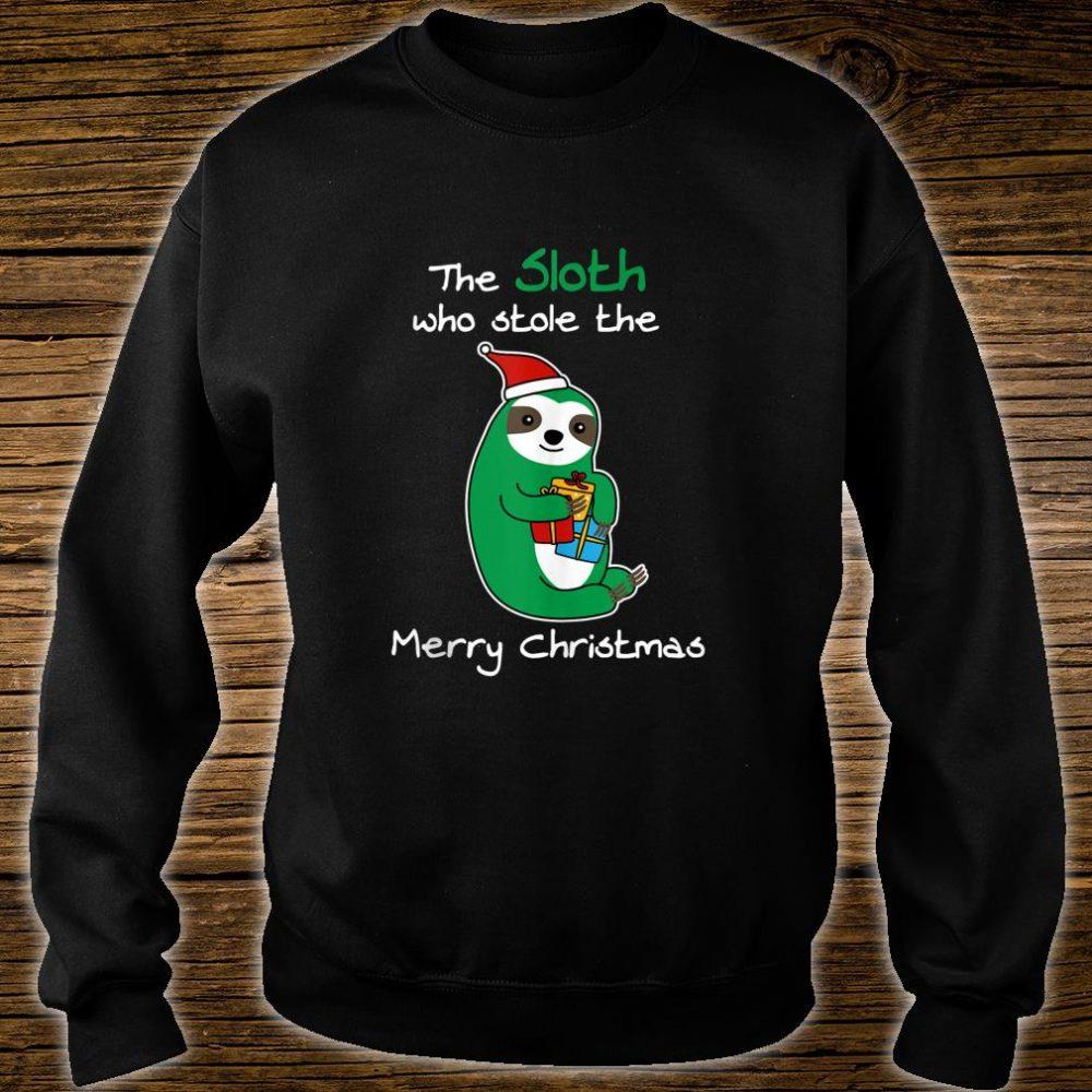 Santa Sloth Who Stole Merry XMas Boxes Christmas Shirt sweater