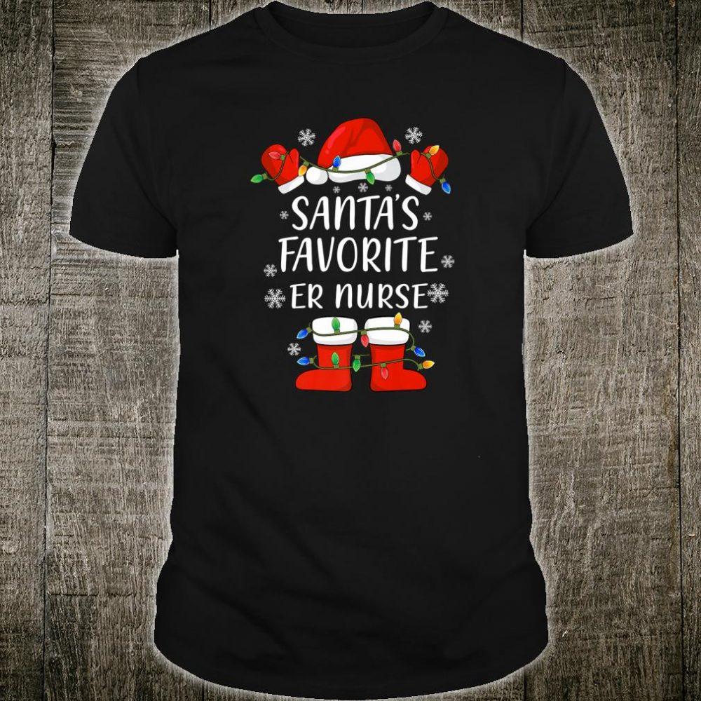 Santa's Favorite Emergency Room Nurse Santa Christmas Light Shirt