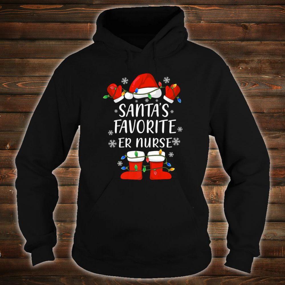 Santa's Favorite Emergency Room Nurse Santa Christmas Light Shirt hoodie
