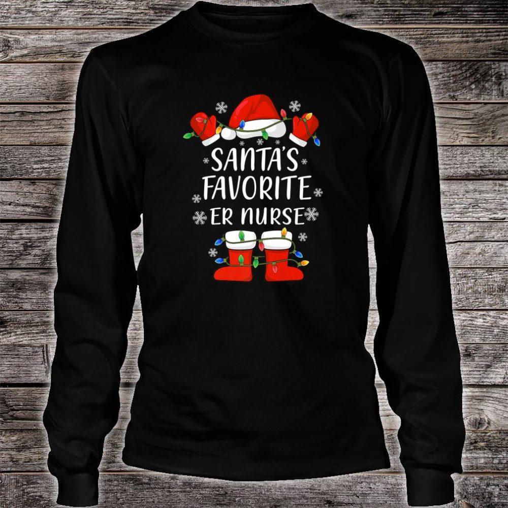 Santa's Favorite Emergency Room Nurse Santa Christmas Light Shirt long sleeved