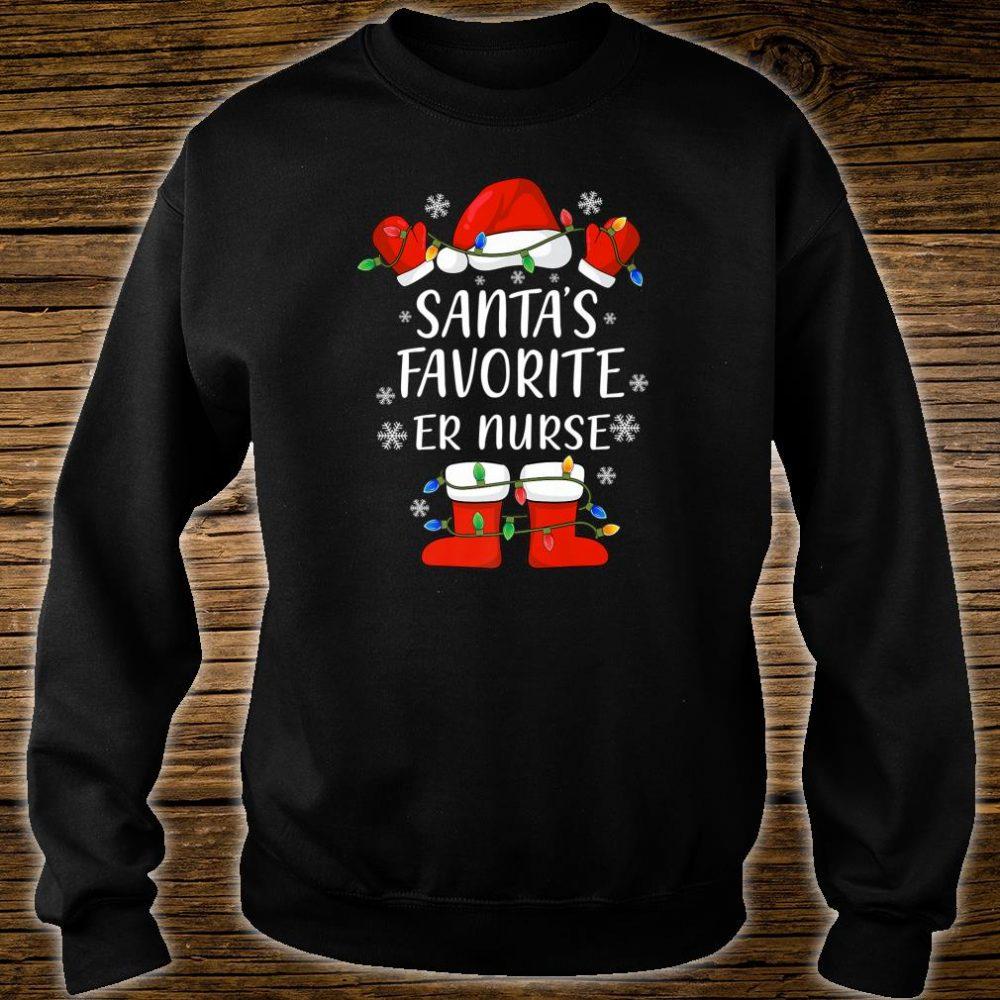 Santa's Favorite Emergency Room Nurse Santa Christmas Light Shirt sweater