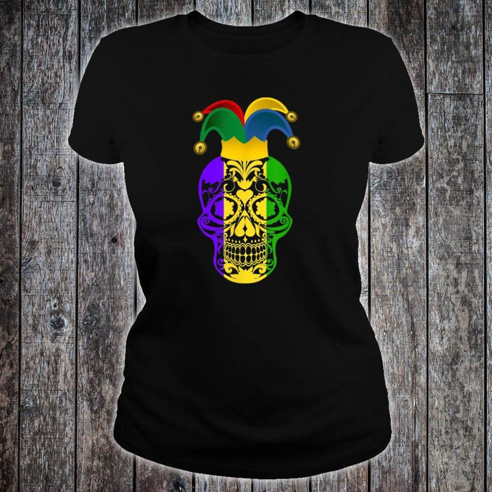Skull Mardi Gras Jester Hat Happy Fat Tuesday Shirt ladies tee