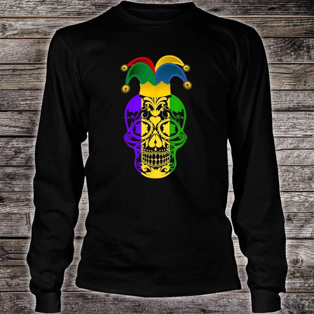 Skull Mardi Gras Jester Hat Happy Fat Tuesday Shirt long sleeved