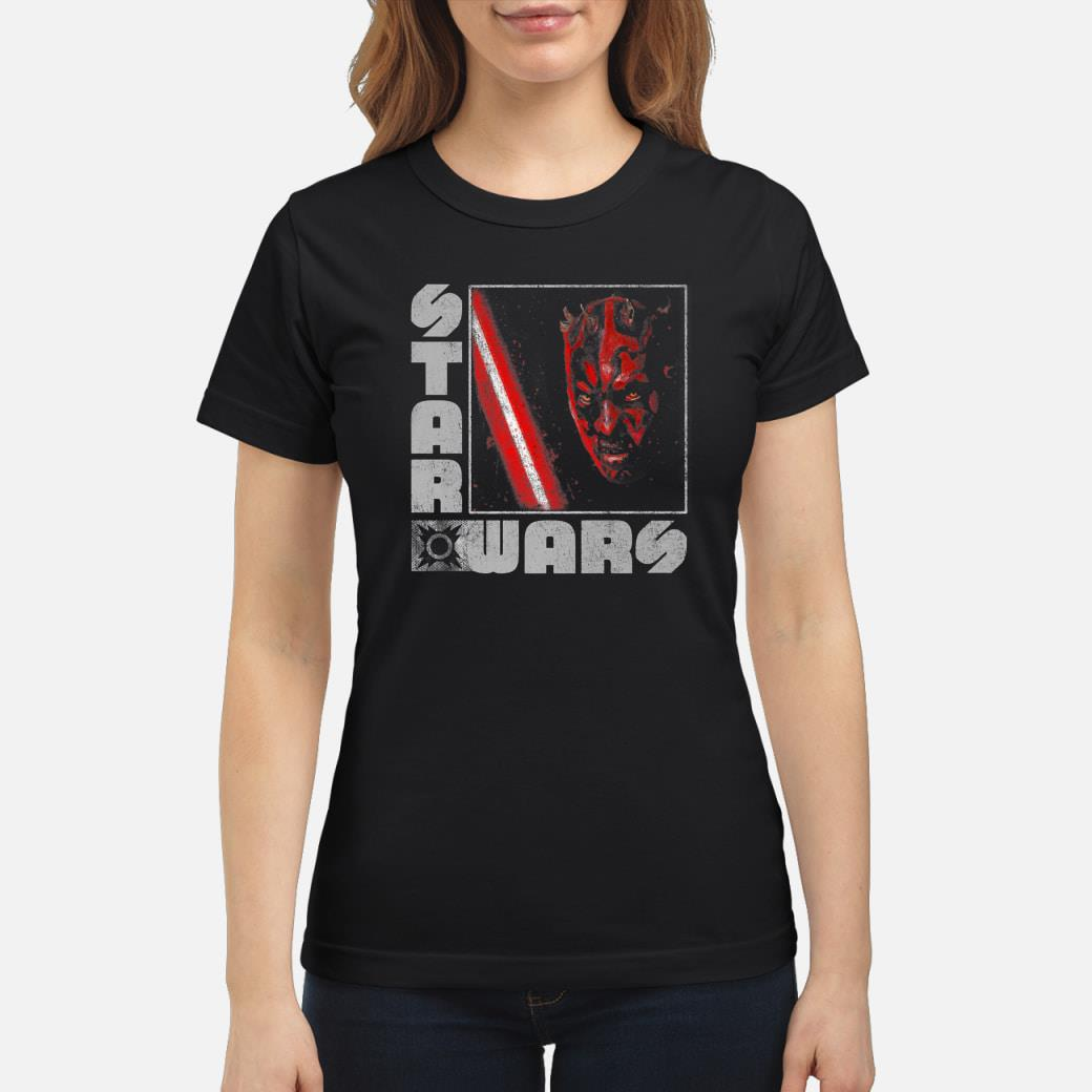 Star Wars Darth Maul Distressed Square Portrait Shirt ladies tee