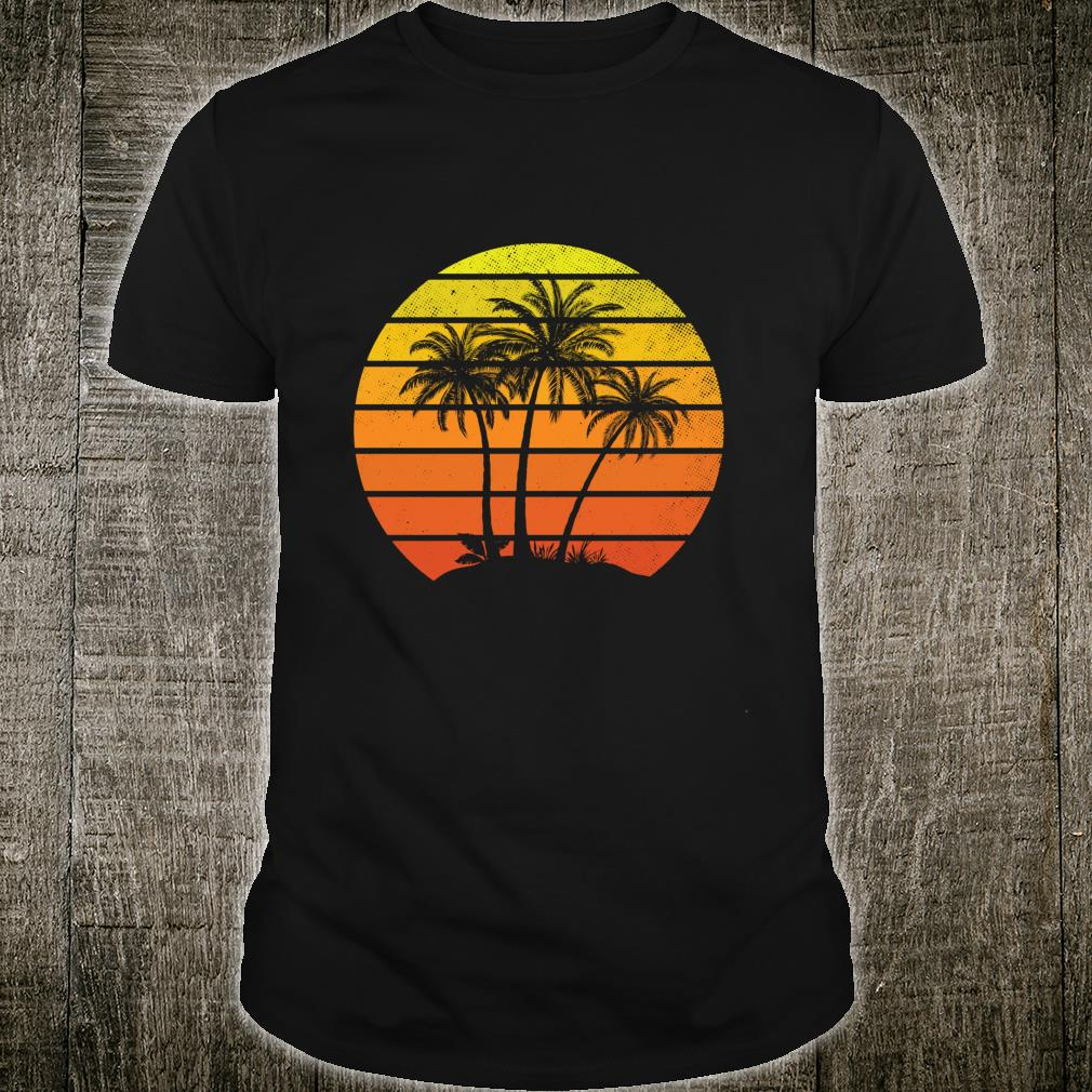 Vintage Tropical Coco Palm Tree Island Sunset Vacation Shirt
