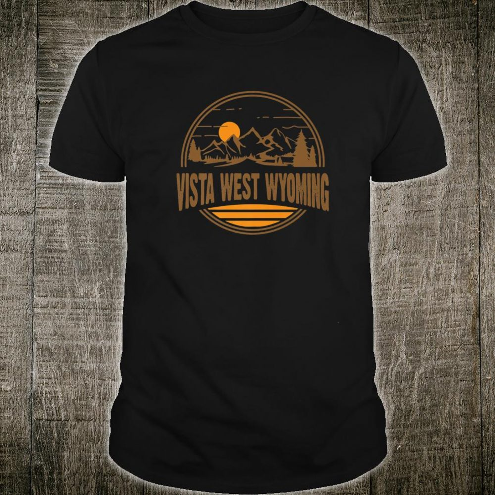Vintage Vista West, Wyoming Mountain Hiking Souvenir Print Shirt