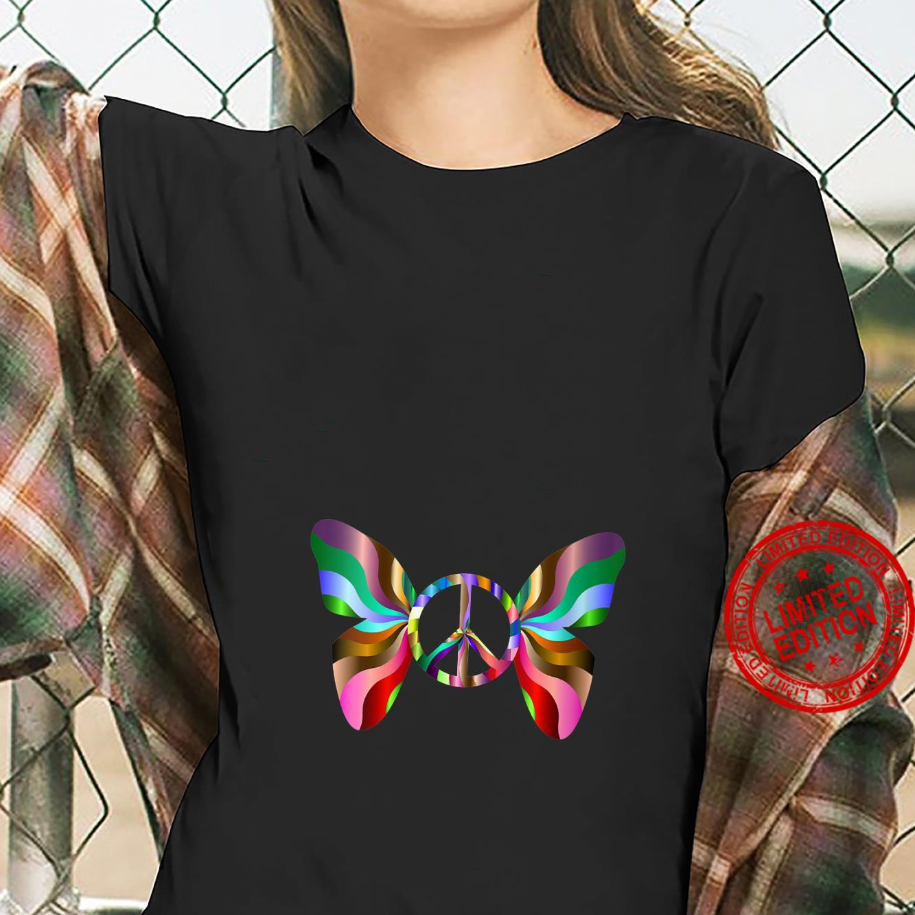 Womens Groovy Peace Sign Butterfly Shirt ladies tee