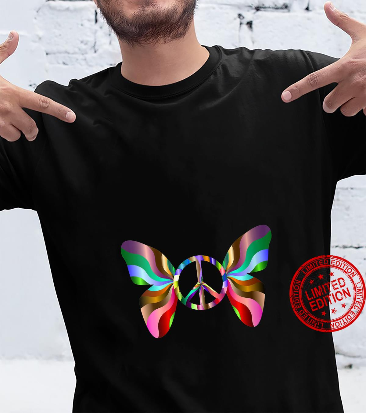 Womens Groovy Peace Sign Butterfly Shirt